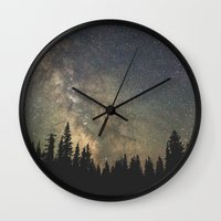 milky way Wall Clocks featuring Milky Way by Luke Gram