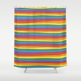Horizontal Rainbow Stripes Shower Curtain