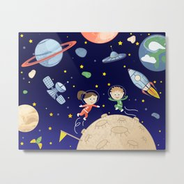 Space kids astronauts planets asteroids and spaceships Metal Print