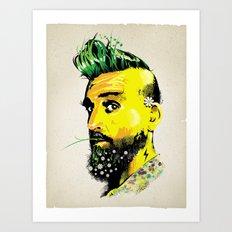 GREEN BEARD Art Print