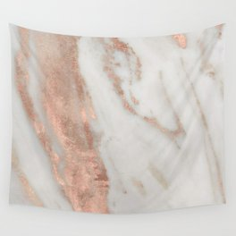 Marble Rose Gold Shimmery Marble Wall Tapestry