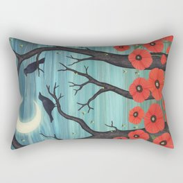 crows, fireflies, and poppies in the moonlight Rectangular Pillow