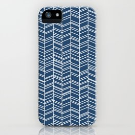 Navy Herringbone iPhone Case