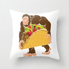 """Bigfoot With A Taco Funny Cinco De Mayo T-Shirt "" Throw Pillow"