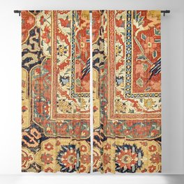 Indian Trellis II // 17th Century Ornate Medallion Red Blue Green Flowers Leaf Colorful Rug Pattern Blackout Curtain