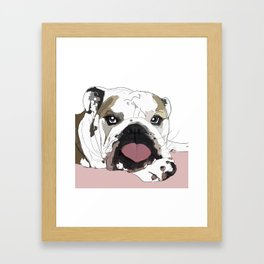 English Bulldog Love Framed Art Print