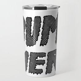 bummer black and white spiral Travel Mug