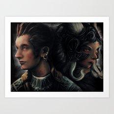 Balthier and Fran Final Fantasy 12 Portraits Art Print