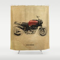 ducati Shower Curtains featuring Ducati Scrambler by Larsson Stevensem