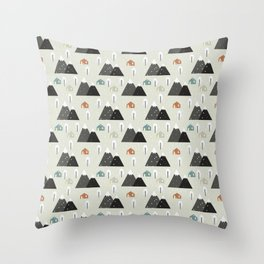 Winter Mountain Throw Pillow