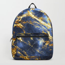 Ornate, Classic Gold and Sapphire Marble Backpack