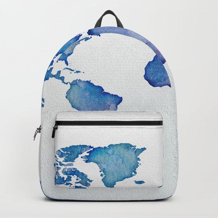 Blue World Map 02 Backpack