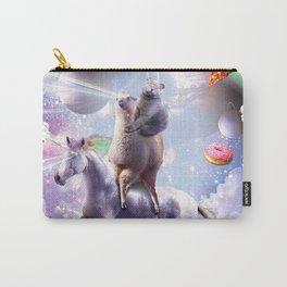 Laser Eyes Space Cat On Llama Unicorn - Rainbow Carry-All Pouch