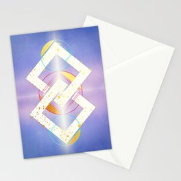 Linked Lilac Diamonds :: Floating Geometry Stationery Cards