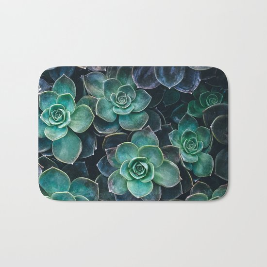 Succulent Blue Green Plants Bath Mat