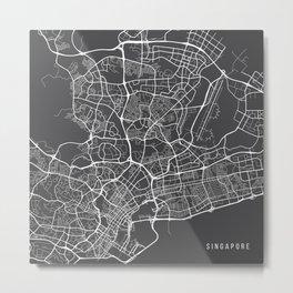 Singapore Map, Singapore - Gray Metal Print