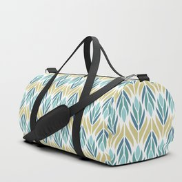 Mid Century Modern Abstract Floral Pattern in Turquoise Teal Aqua and Marigold Duffle Bag