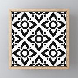 illustration decorative black and white seamless vector pattern floral motifs Framed Mini Art Print