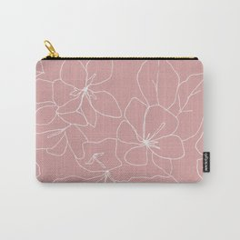 Floral Drawing on Pale Pink Carry-All Pouch