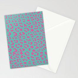 Leopard skin teal Stationery Cards