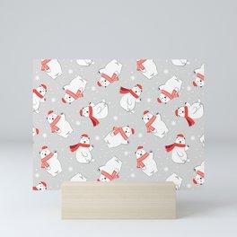 Happy Christmas Polar Bear Gift Pattern Mini Art Print