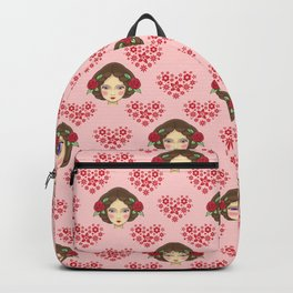 Beautiful faces of boho girl dolls, pretty red hearts artistic elegant gorgeous romantic pattern Backpack