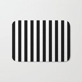 Black and White Even Small Stripes Bath Mat