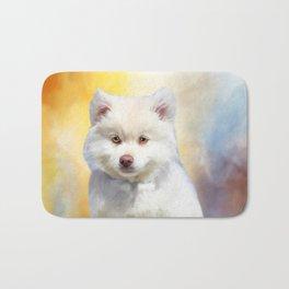 American Eskimo Dog Art Portrait Bath Mat