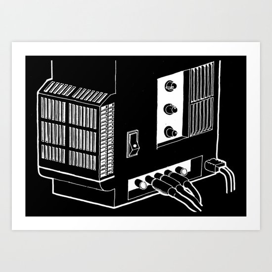 Amplifier White on Black Art Print