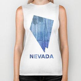 Nevada map outline Steel blue clouded wash drawing paper Biker Tank