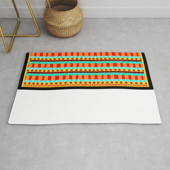 Tribal - Aqua and Mango Stripes Rug
