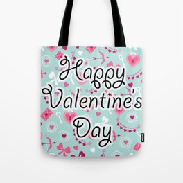 Happy Valentine's Day Pattern Tote Bag