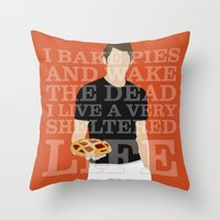 pushing daisies Throw Pillows featuring Pushing Daisies - Ned by MacGuffin Designs