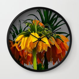 YELLOW CROWN IMPERIAL WATERCOLOR  FLOWERS Wall Clock