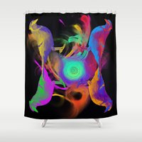 jay fleck Shower Curtains featuring Psychedelic Jay by Rafael Maga