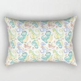 Watercolor Dinosaurs Hand Drawn Illustration Pattern Rectangular Pillow