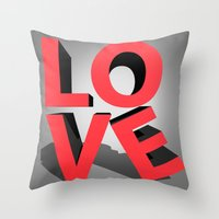 kiss Throw Pillows featuring kiss by mark ashkenazi