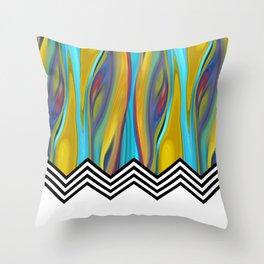 CHEVRON FLAME | blue yellow Throw Pillow
