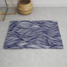Indigo Flowing Lines Rug
