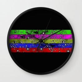 Stars N Stripes - Starry pattern in block colour stripes Wall Clock
