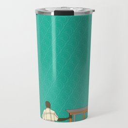 Tropical Life in Vintage Blue Travel Mug