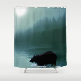 Stepping Into The Moonlight - Black Bear and Moonlit Lake Shower Curtain