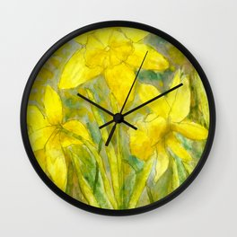 Rise and Shine, Watercolor Daffodils Painting Wall Clock