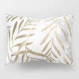 Gold and Marble Leaves Pillow Sham