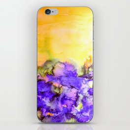 INTO ETERNITY, YELLOW AND LAVENDER PURPLE Colorful Watercolor Painting Abstract Art Floral Landscape iPhone Skin