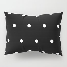 Black Background With White Polka Dots Pattern Pillow Sham