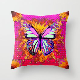 Rainbow Colored Butterfly On Red-fuchsia Sunflower Floral  Throw Pillow