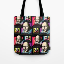 WILLIAM SHAKESPEARE (POP ART 4-UP COLLAGE, ON BLACK) Tote Bag