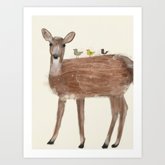 little deer and birds Art Print
