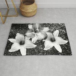 White Lilies on Black Glitter #1 #floral #decor #art #society6 Rug